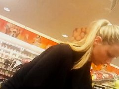 Candid spy supermarket blonde with tight ass