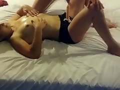 Pegging wife fucking his ass with strap on tell he cums all over her