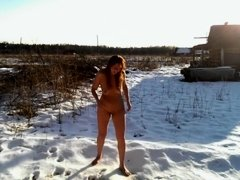 Sexwife Marta In The Russian Bath. Hot Body On Hot Snow. The Heat Of Flesh