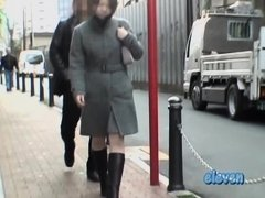 Grey coat and grey skirt sharked by some guy in public