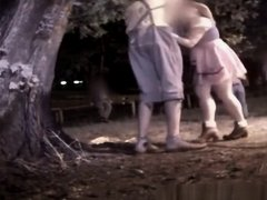 Girls caught pissing outdoors in public