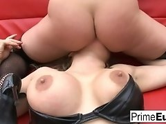 Sexy blondes cum together for a hot anal threesome