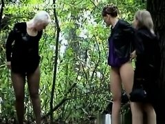 Four women caught by voyeur peeing outdoors