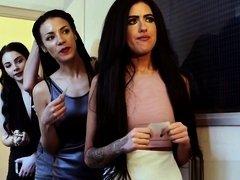 British femdoms tug sub in front of voyeurs