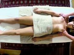 Massage babe banged by the masseur